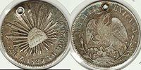 1829 Mexico 2 reales Fine, holed, Zs, AO