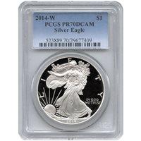 2014-W 1 oz Proof Silver American Eagles PCGS PR70 DCAM