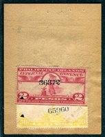 Warren update PI W660, W667 1944, March 2p carmine lake (D) on the back of a Tong Po Night Club receipt, punch cancels, VF