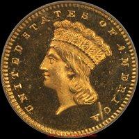 G$1 1868 PCGS PR65 DCAMEO