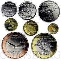 Society Islands, set of 8 coins, Local Fauna, Sea Creatures, Birds, 2015