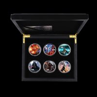 6pcs Star Wars Jedi Silver Coins Metal Coin with Wooden Box for Collection