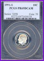 1991-S PCGS PR69 DEEP CAMEO Roosevelt Dime