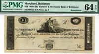 $10 Baltimore Maryland Farmers & Merchants Bank. PMG 64 EPQ Choice Uncirculated