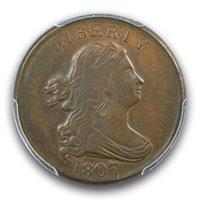 1807 1/2C Draped Bust Half Cent PCGS AU58BN