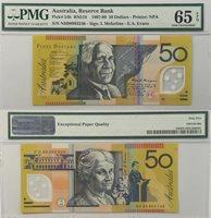 1997-99 50 Dollars Reserve Bank Of Australia Gem Uncirculated 65 Pick #54b RN 518 S/N NH99993246