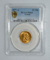 PCGS MS63 1877-A Germany Prussia 10 Mark Gold Coin K10005