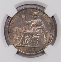 NGC-UNCD 1879A FRENCH COCHIN CHINA 50CENTS LUSTER UNC