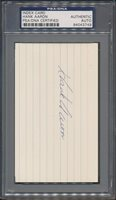 Hank Aaron Autographed Signed Index Card - PSA/DNA Authentic Certified Authentic Certified Signature *3749CUSTOM FRAME YOUR JERSEY