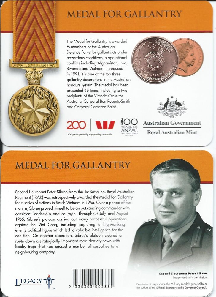 Medal for Gallantry UNC Legend of the Anzac 2017 Australia 25 Cent Anzac Coin