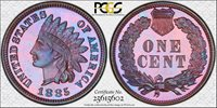 1885 Proof Indian Cent, Very Premium Quality 1885 Indian Cent PCGS Secure Holder PR-66BN. Very high end for the grade, and virtual 67 quality. Rarity Rating SR-1/C4.