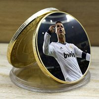 Ronaldo Gold Plated Coin Soccer Star Challenge Metal Coins with Plastic Shell