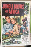 """Jungle Drums of Africa, Movie Poster, 1953 Clayton Moore Phyllis Coates 27"""" x 41"""