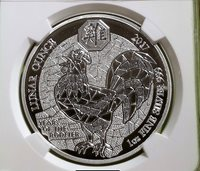 2018 Rwanda - Lunar Year of the Rooster - 1oz Silver Proof - NGC PF68UCAM