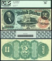 US Currency 1869 $2 Legal Tender Rainbow Note FR-42 PCGS Graded Very Fine 30 S/N Z537887