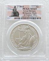 2014 Britannia £2 Two Pound Silver 1oz Coin PCGS MS69 Mule Error