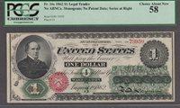 FR.#16c 1862 $1 LEGAL TENDER, NO ABNCo. MONOGRAM; PCGS CHOICE ABOUT NEW 58.