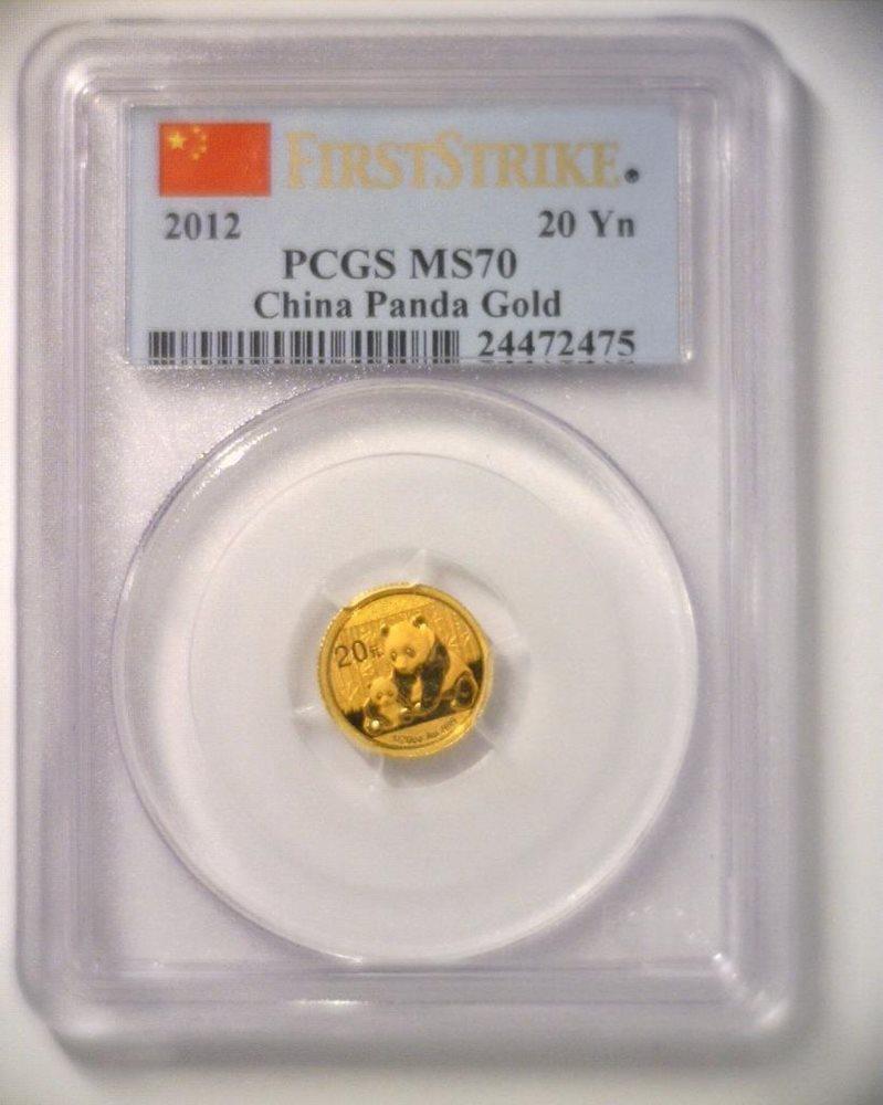China 2012 20 Yuan 1//20 Troy Oz 999 Gold Panda Coin PCGS MS70 First Strike GEM