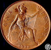 Great Britain United Kingdom England 1921 Penny and 1976 2 New Pence - AU/RB