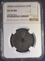 1896-H Sarawak 1C, NGC XF45 BN, Nice Coin!