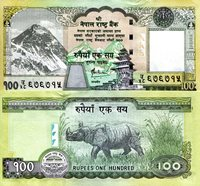 """Nepal 100 Rupees Pick #: 64 (Alt. Sign) 2009-2010 UNC Olive Green Mt. Everest; Temple in the background; Silver seal, Rhino; Nepalese coat of armsNote 5 3/4"""" x 2 3/4"""" Asia and the Middle East Rhododendron"""