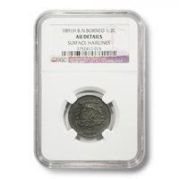1891H British North Borneo Arms 1/2 Cent AU-DETAILS NGC Encapsulated Copper Coin