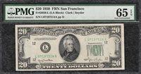 1950 Plain $20 San Francisco FRN Green Seal - PMG Gem Uncirculated CU 65EPQ C2C