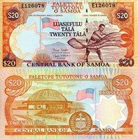 "Samoa 20 Dollars Pick #: 35b 2003 UNC Blue/Orange Flag; Man; Circular Building; CrestNote 5 1/2"" x 3"" Australia and the South Pacific Mans Face"