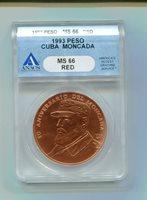 ANACS GRADED 1993 CUBA PESO MONCADA SHOWING FIDEL CASTRO