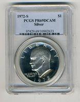 1972-S PCGS Silver Eisenhower Dollar PCGS PR69DCAM