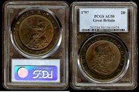 English 2 pence 1797 PCGS AU50