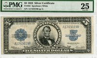 "Fr 282 1923 $5 Large Size Silver Certificate ""PORTHOLE NOTE"" PMG VF 25"