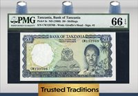 1966 Tanzania 20/ Shillings Pmg 66 Epq Gem Finest Known