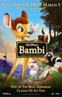 BAMBI DVD MOVIE POSTER 1 Sided ORIGINAL ROLLED 26x40 DISNEY