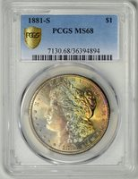 1881-S PCGS MS68 Morgan Dollar ~ ULTRA HIGH-END TONED MS68 GEM ~ #36394894