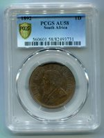 SOUTH AFRICA ZAR PCGS GRADED 1892 KRUGER PENNY AU 58 - SCARCE DATE