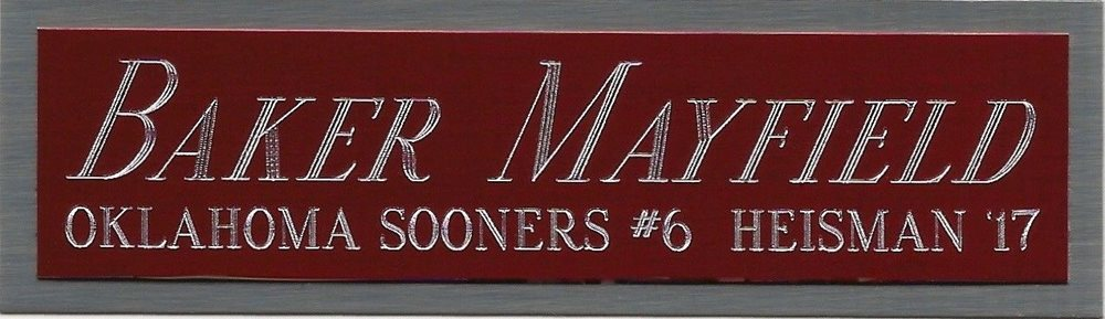 low priced 2f49c aa2d7 BAKER MAYFIELD HEISMAN NAMEPLATE AUTOGRAPH Signed Football Helmet JERSEY  PHOTO