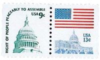 #1590,1623 – 1977 9c Capitol Dome & 13c FLag