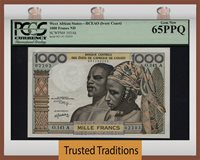 1000 Francs Nd West African States Ivory Coast Eye Popper Pcgs 65 Pq
