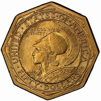 PANAMA PACIFIC OCTAGONAL 1915-S $50 PCGS MS64+ CAC, Gold Commemorative