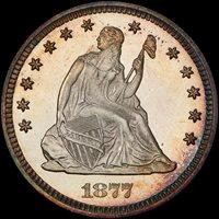1877 25C PR67+CAM PCGS