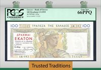 100 Drachmai 1935 Greece Bank Of Greece Pcgs 66 Ppq Exquisite Gem!