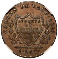 1828 Switzerland Vaud 1 One Batzen Billon Coin - NGC AU 50 - KM# 20