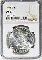 1888-O MORGAN SILVER DOLLAR - NGC MS 63 - DEEP BRIGHT BLAZER, VERY NICE COIN