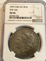 1879 S Rev Of 78 Morgan Silver Dollar Ngc Au50 Top  Reverse Of 78
