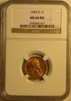 1942 D BU LINCOLN WHEAT PENNY, CENT, NGC MS66 RED, AM-171