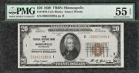 1929 $20 Minneapolis Federal Reserve Bank Note PMG Almost Uncirculated 55EPQ C2C