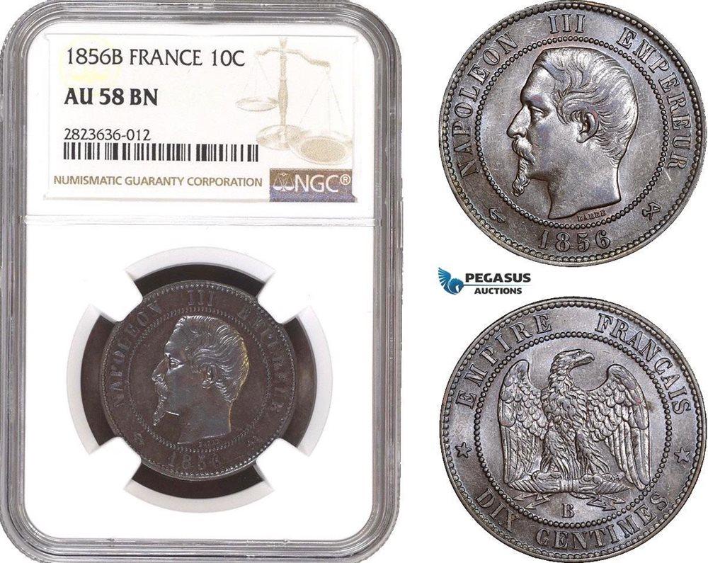 AC283, France, Napoleon III, 10 Centimes 1856-B, Rouen, NGC AU58BN