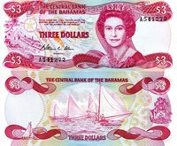 """Bahamas 3 Dollars Pick #: 44 1974 (1984) aUNC/XF (see scan)Other William Allen Signature (Understand they are to be withdrawn from Circulation soon) Red/Blue Queen Elizabeth II; Paradise Beach scene; Islands Map outline; Yachts in Regatta; CrestNote 6"""" x 2 3/4"""" North and Central America Sail Ship"""