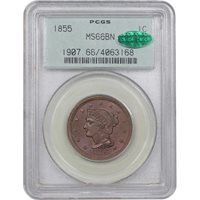 1855 Braided Hair 1¢Upright 55MS66 BN [PCGS OGH]